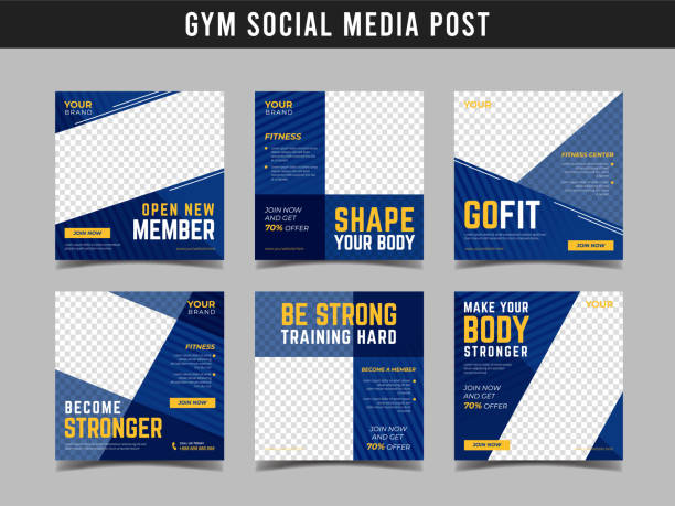 gym square banner template. promotional banner for social media post, web banner and flyer vol.18 - лекало stock illustrations