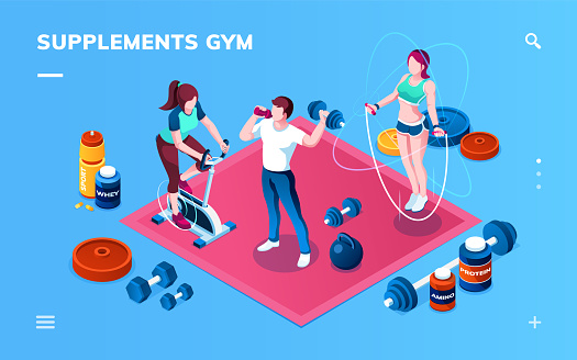 Gym supplement, workout or fitness, sport training application screen for smartphone. Isometric bodybuilder, exercise bike, skipping rope athlete, whey protein, amino, energizer, weight gainer shaker