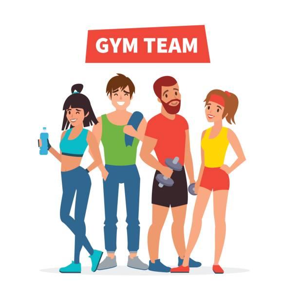 ilustrações, clipart, desenhos animados e ícones de academia de ginástica, equipe - personal trainer