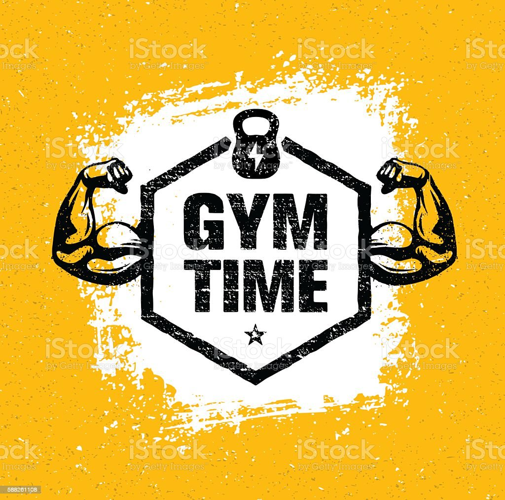 Gym Time Fitness Workout Sport Inspiration Vector Rough ...