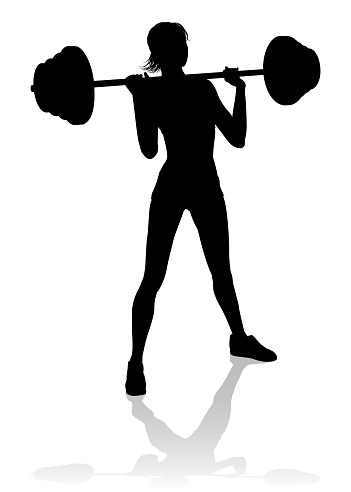 Gym Woman Silhouette Barbell Weights