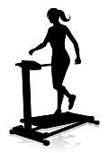 Gym Woman Silhouette Treadmill Running Machine