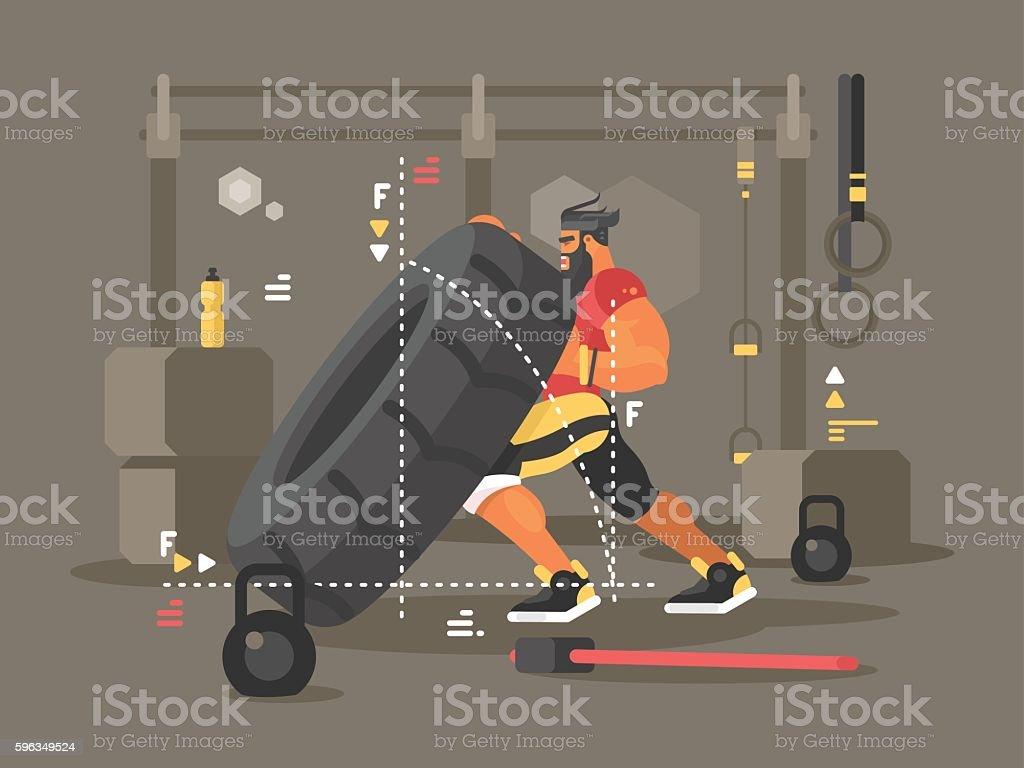 gym workout flat - Illustration vectorielle
