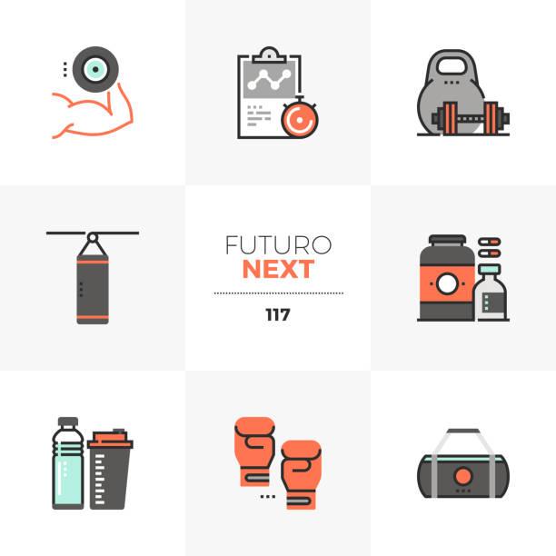 Gym Workout Futuro Next Icons vector art illustration
