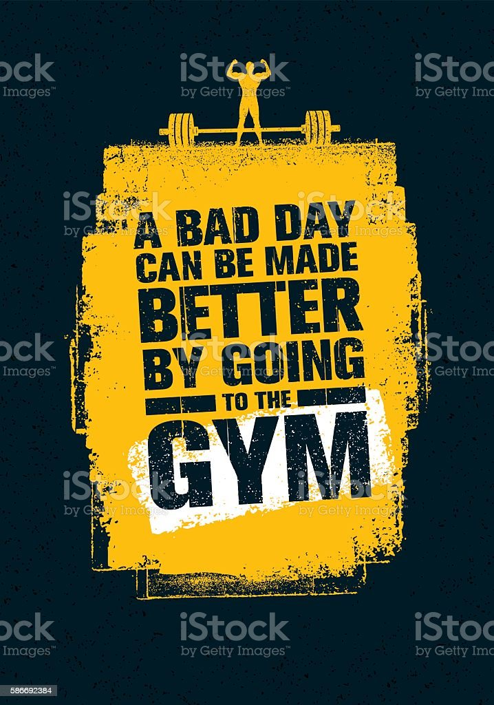 Gym Workout Motivation Quote vector art illustration