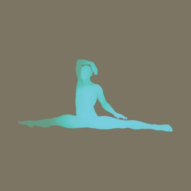 turnerin. menschliche körper in 3d-modell. mann tut yoga oder pilates übung. - spagat stock-grafiken, -clipart, -cartoons und -symbole