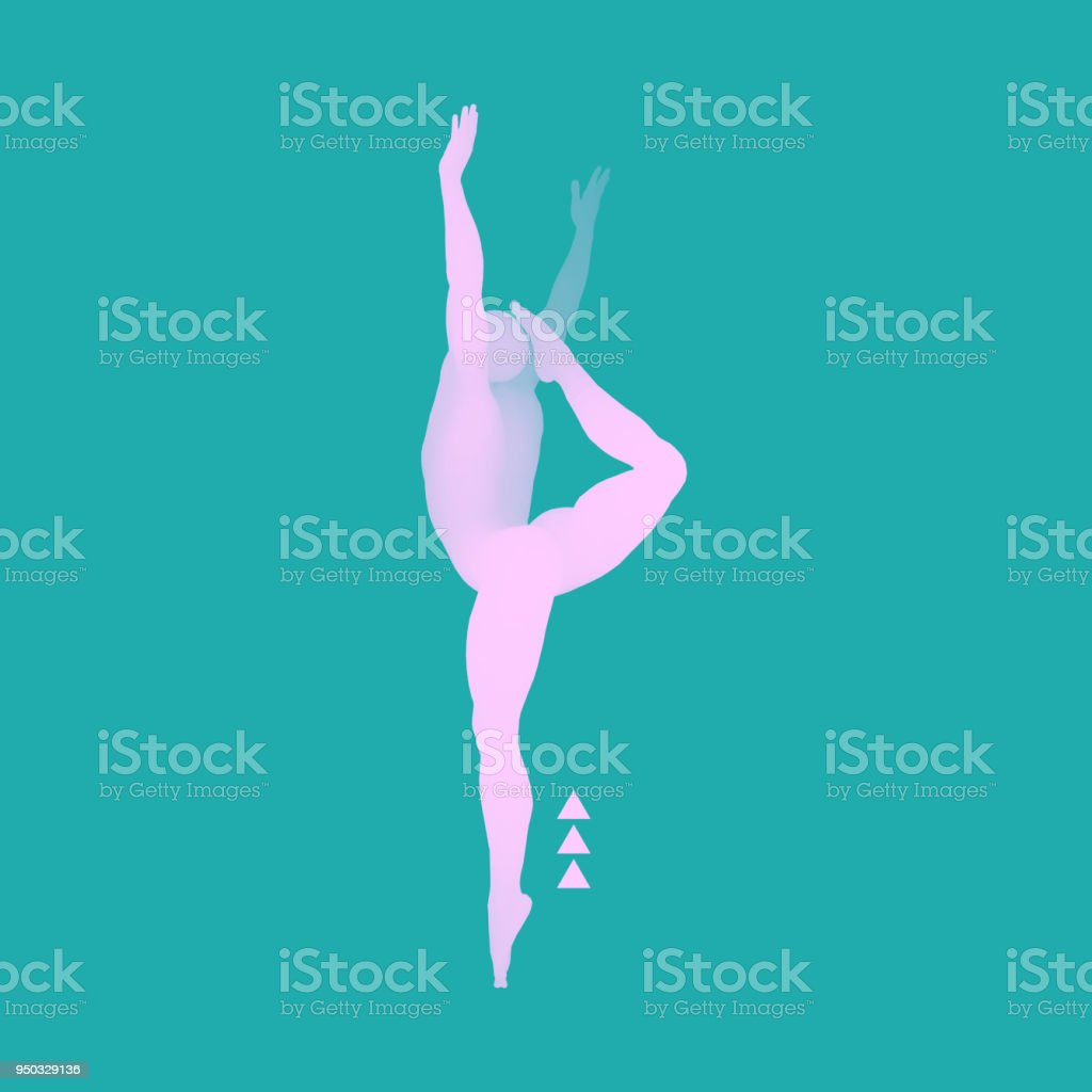 Gymnast. 3D Model of Man. Human Body Model. Gymnastics Activities for Icon Health and Fitness Community. vector art illustration