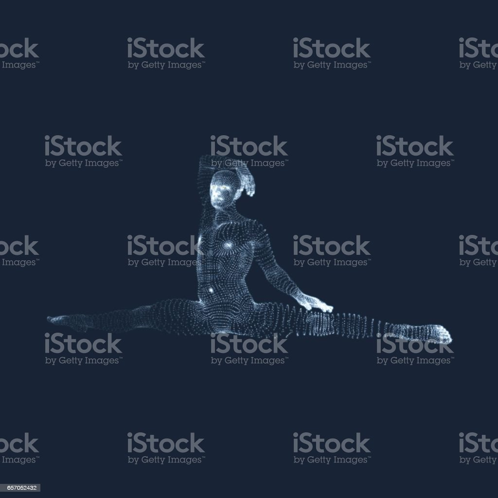 Gymnast. Athletic man doing hand exercises sitting on the splits. vector art illustration