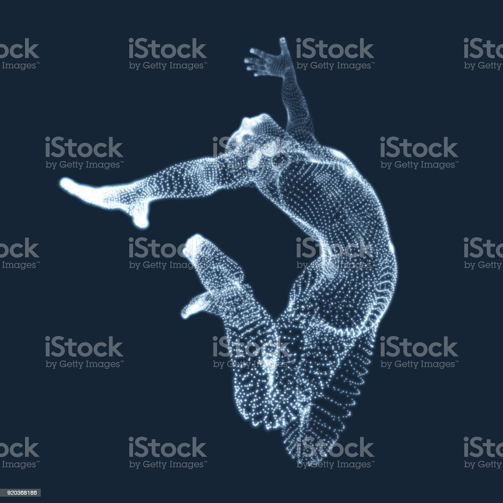 Gymnast. Man. 3D Human Body Model. vector art illustration