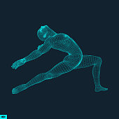 Gymnast. Man. 3D Model of Man. Human Body Model. Gymnastics Activities for Icon Health and Fitness Community. Vector Illustration.