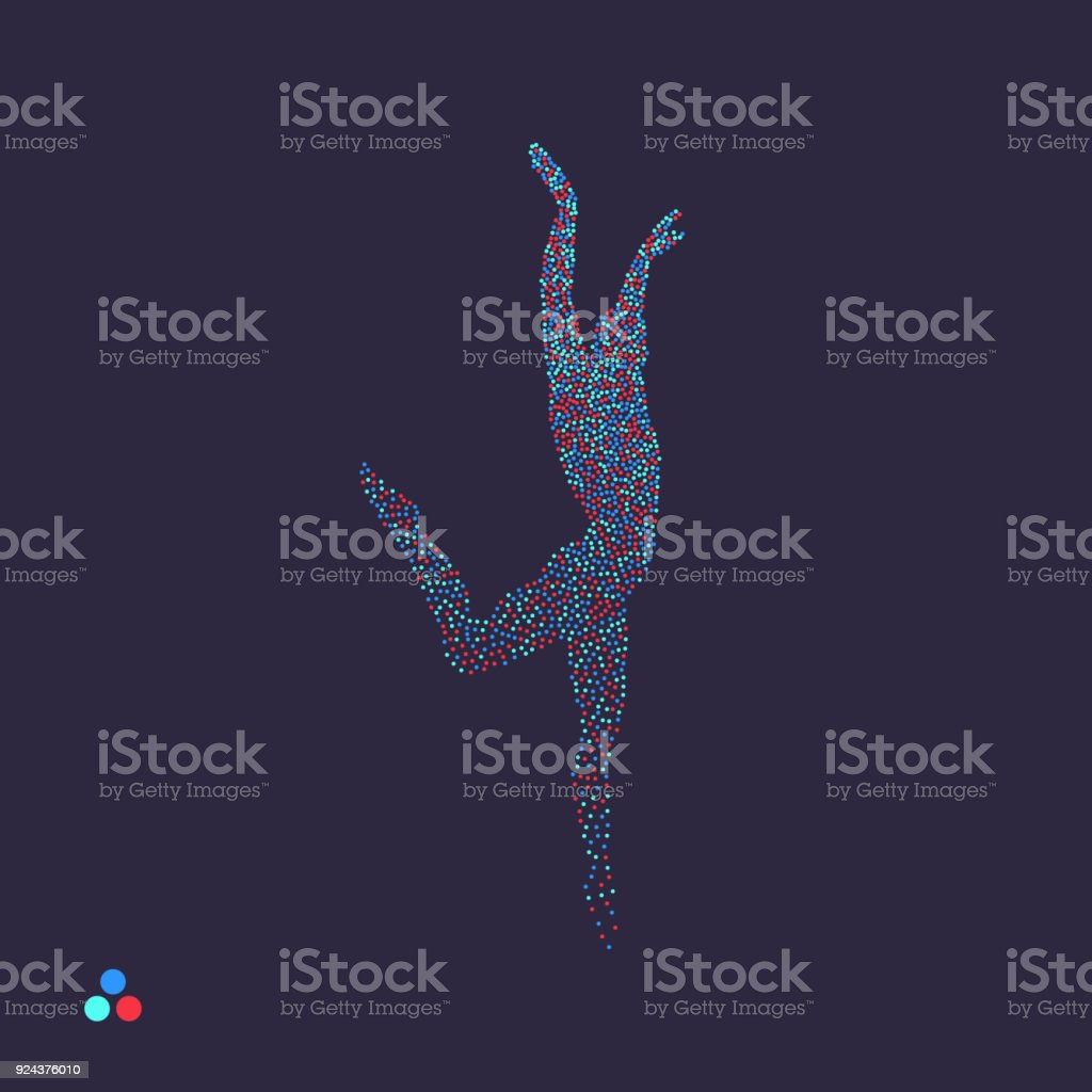 Gymnast. Man is posing and dancing. Dotted silhouette of person. Vector illustration. vector art illustration