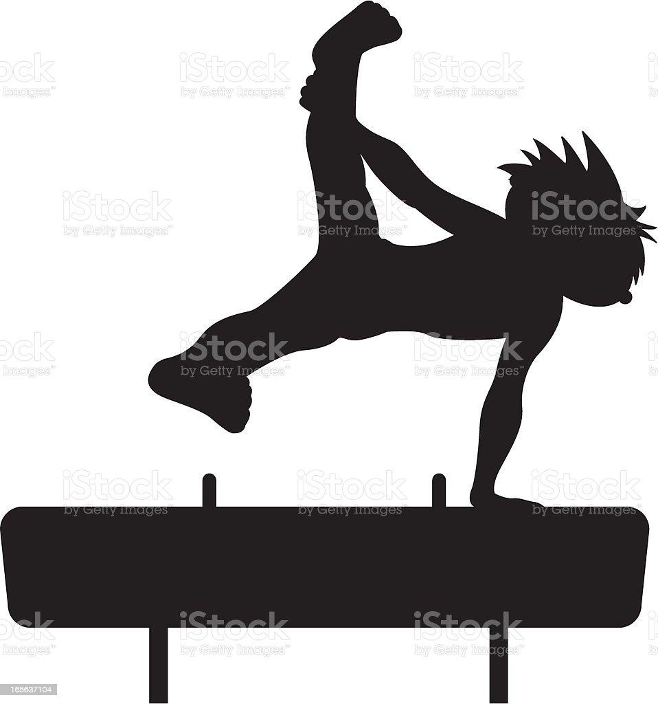 Gymnast on Pommel Horse Silhouette royalty-free stock vector art