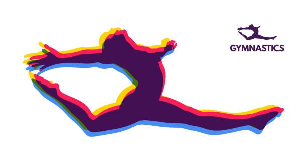 体操選手。ダンサーのシルエット。アイコン健康及びフィットネス コミュニティのため体操活動。スポーツ シンボル。ベクトルの図。 - 体操競技点のイラスト素材/クリップアート素材/マンガ素材/アイコン素材