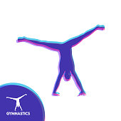sporty man doing handstand exercise gymnast silhouette of a dancer