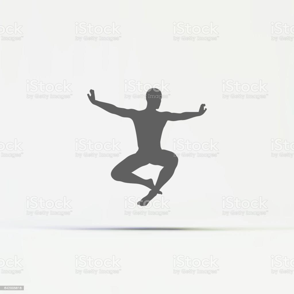 Gymnast. Silhouette of a Dancer. Sport Symbol. vector art illustration