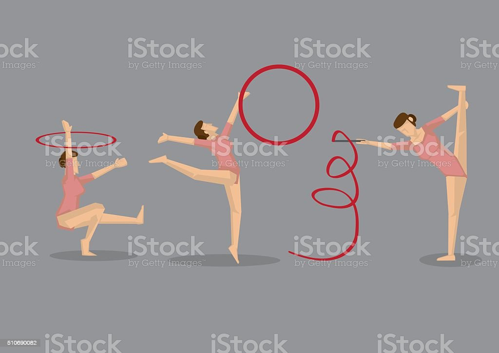 Gymnast Woman Performing Gymnastic Floor Exercises vector art illustration