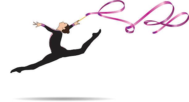 gymnast woman with ribbon - 体操競技点のイラスト素材/クリップアート素材/マンガ素材/アイコン素材