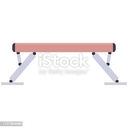 Gymnastic balance beam vector flat illustration.