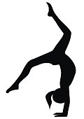 Gymnastic exercises, loop, black silhouette of girl, vector icon. Isolated object.