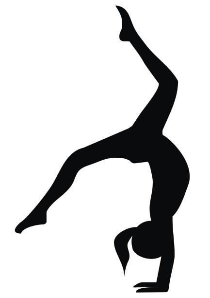 Gymnastic exercises, black silhouette vector art illustration