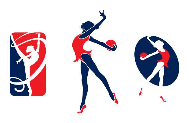 illustrations, cliparts, dessins animés et icônes de logo de gymnastique fille - gymnastique sportive