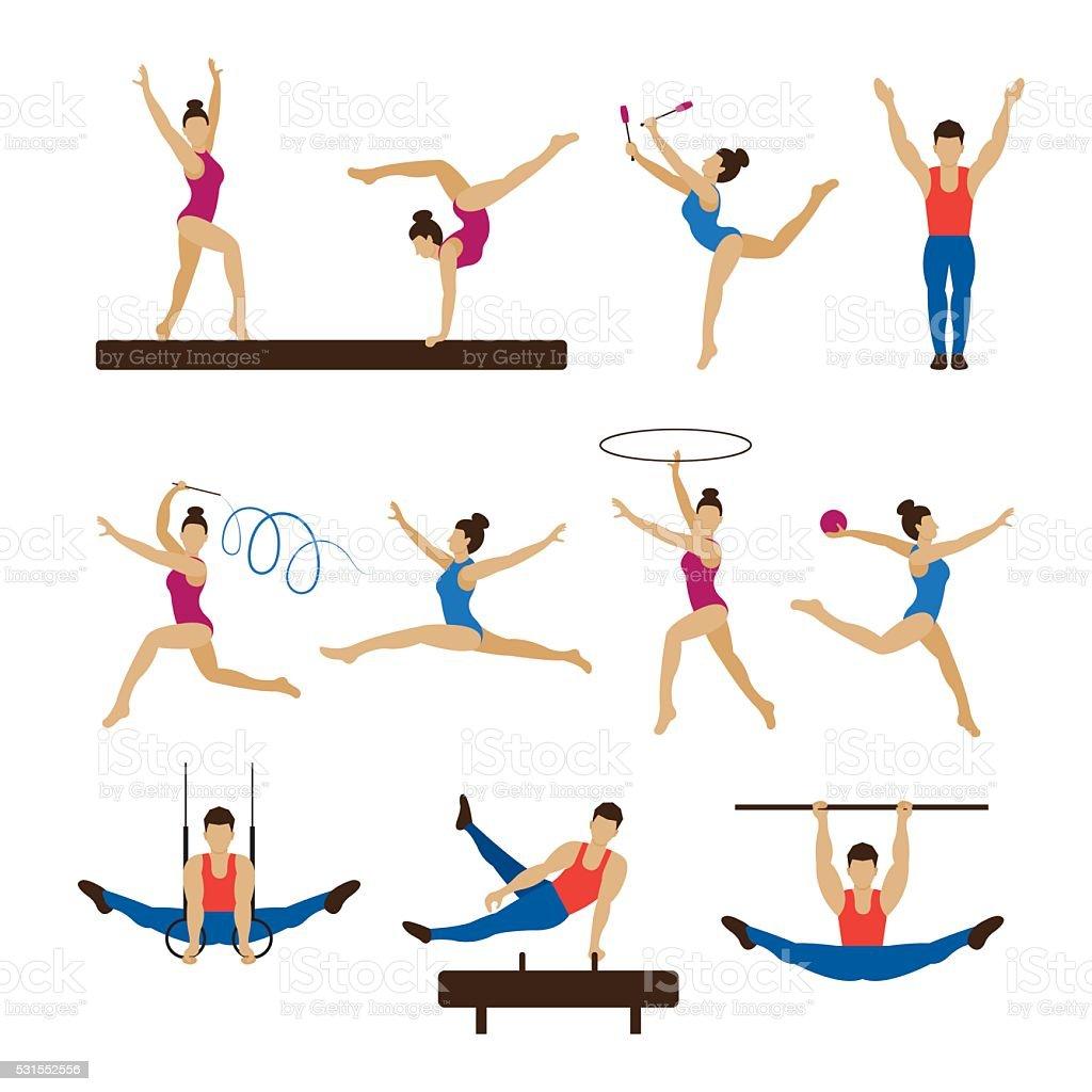 Gimnasia atletas, hombres y mujeres de - ilustración de arte vectorial