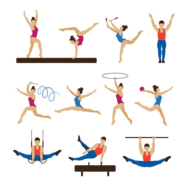 gymnastics athletes, men and women set - gymnastics stock illustrations, clip art, cartoons, & icons