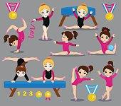 Gymnastics cute girls set.