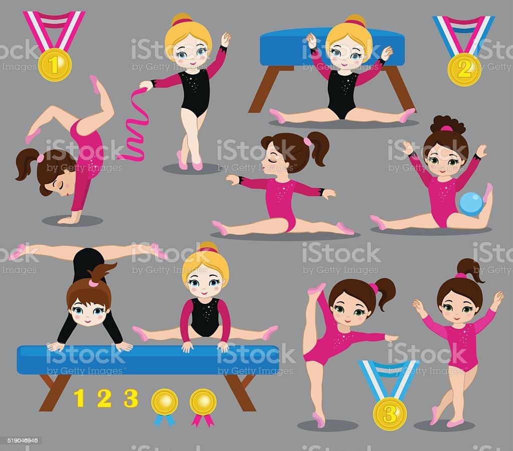 Gymnastics cute girls set. vector art illustration