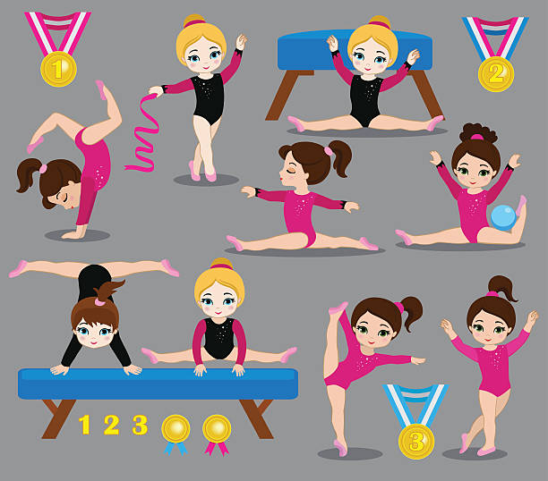 gymnastics cute girls set. - gymnastics stock illustrations, clip art, cartoons, & icons
