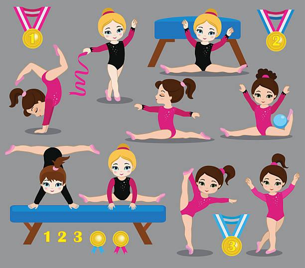 体操かわいい女の子設定されます。 - 体操競技点のイラスト素材/クリップアート素材/マンガ素材/アイコン素材