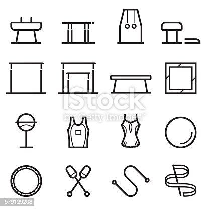 Gymnastics Equipment Thin Line Icons
