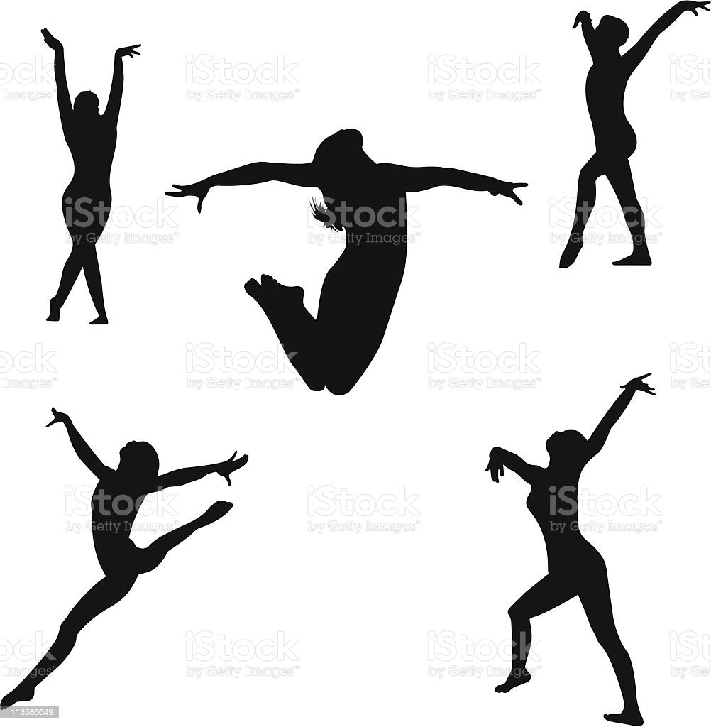 Gymnastics Floor Routine vector art illustration