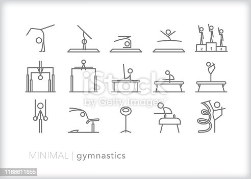 Set of 15 gymnastics sport line icons of gymnasts practicing and performing routines and skills