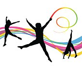 A vector silhouette illustration of a young woman moving, jumping, dancing, and doing a handstand, with a rainbow ribbon in front of a colourful wave pattern background.