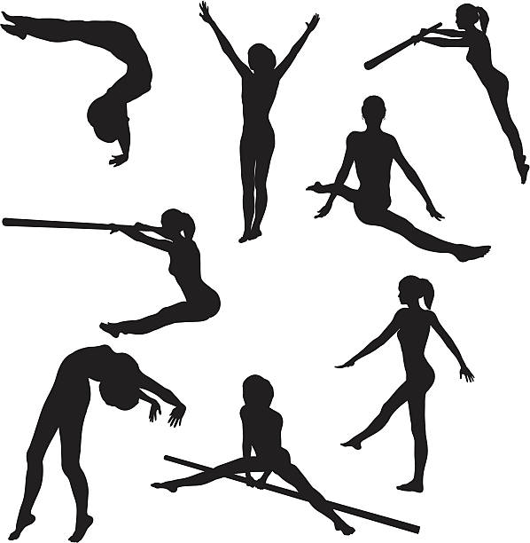 gymnastics silhouette collection (vector+jpg) - gymnastics stock illustrations, clip art, cartoons, & icons