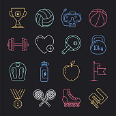 Modern gymnastics training program neon style concept outline symbols. Line vector icon sets for infographics and web designs.