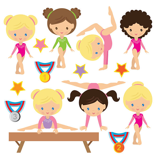 gymnastics vector illustration - gymnastics stock illustrations, clip art, cartoons, & icons