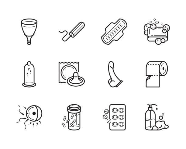 stockillustraties, clipart, cartoons en iconen met gynaecologie en hygiëne vector pictogram set - doordrukstrip