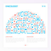 Gynecologist concept in half circle with thin line icons: uterus, ovaries, gynecological chair, pregnancy, ultrasound, sanitary napkin, test, embryo, menstruation, ovulation. Vector illustration