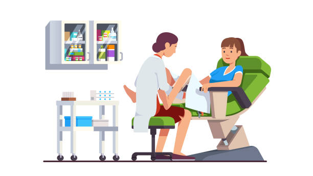Gynecologist doctor doing woman gynecological examination. Cervix screening checkup appointment at clinic. Obstetrician office interior. Flat style isolated vector Gynecologist doctor examining woman lying in gynecological chair. Cervix checkup screening appointment. Female visiting gynecologist. Clinic obstetrician office interior. Flat vector illustration gynecology stock illustrations