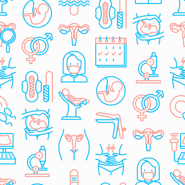 gynecologist seamless pattern with thin line icons: uterus, ovaries, gynecological chair, pregnancy, ultrasound, sanitary napkin, test, embryo, menstruation, ovulation. modern vector illustration. - family planning stock illustrations, clip art, cartoons, & icons