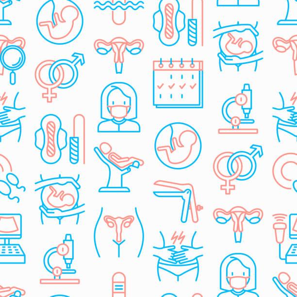 Gynecologist seamless pattern with thin line icons: uterus, ovaries, gynecological chair, pregnancy, ultrasound, sanitary napkin, test, embryo, menstruation, ovulation. Modern vector illustration. vector art illustration