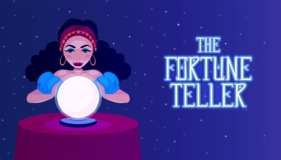 Gypsy fortune teller with a crystal ball sitting at a table. A woman foreteller, witch, oracle. The girl medium predicts fate. Fortune telling advertisement banner.