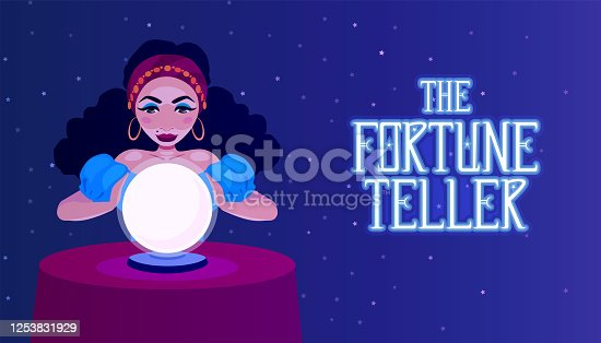 istock Gypsy fortune teller with a crystal ball sitting at a table. A woman foreteller, witch, oracle. The girl medium predicts fate. Fortune telling advertisement banner. 1253831929