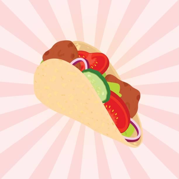 gyros leckere fastfood. gegrilltes fleisch, griechenland fastfood. flachen stil. - döner stock-grafiken, -clipart, -cartoons und -symbole