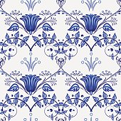 Gzhel handmade background. Seamless pattern of Chinese or Russian porcelain painting with branches and leaves. Vector illustration