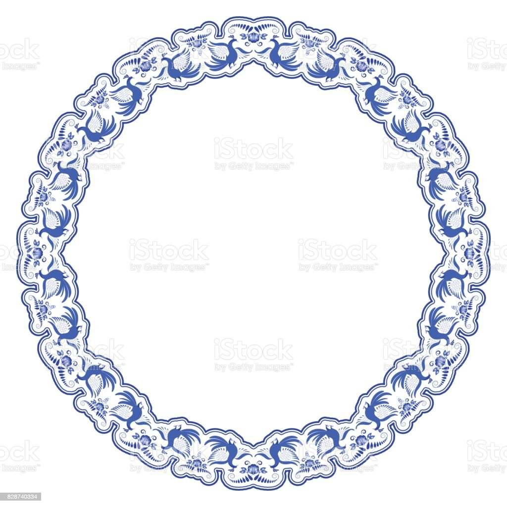 Gzhel round frame. Blue Folk painting with flowers and birds. vector art illustration