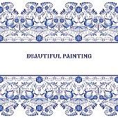 Gzhel style background. Border pattern of Chinese or Russian porcelain painting. Vector illustration.