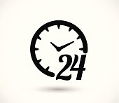 24 h clock icon vector